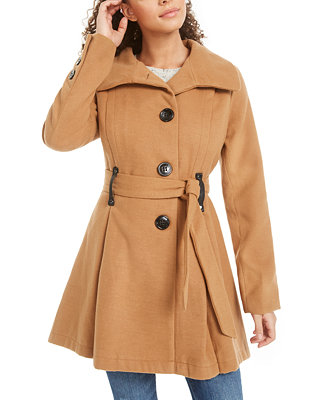 Juniors' Belted Skirted Coat by General