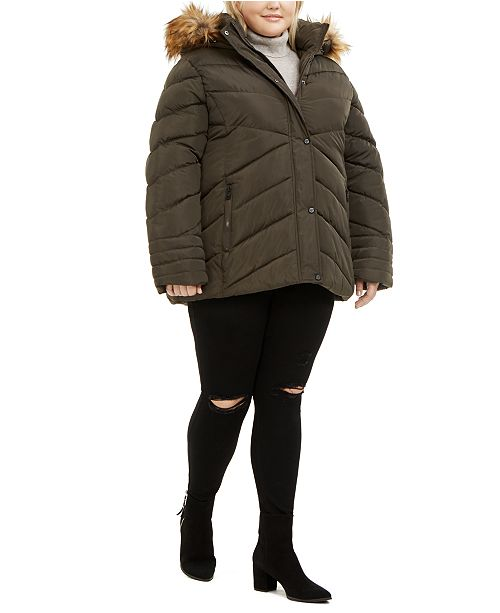 Madden Girl Juniors' Plus Size Faux-Fur Trim Hooded Puffer Coat
