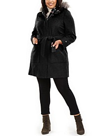 Plus Size Faux-Fur-Trim Hooded Belted Coat