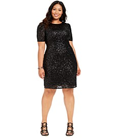 Plus Size Sequin Cocktail Dress