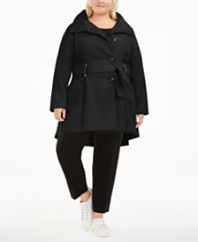 Madden Girl Juniors' Plus Size Skirted Belted Coat