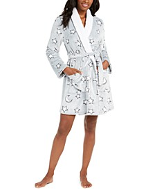 Star Print Plush Short Robe, Created for Macy's