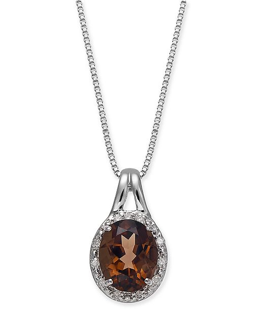 "Macy's Smoky Quartz (2-5/8 ct. t.w.) & Diamond (1/10 ct. t.w.) 18"" Pendant Necklace in Sterling Silver"