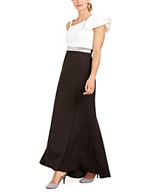 Petite Pleated One-Shoulder Gown