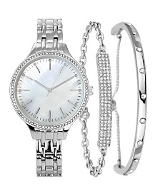 I.N.C. Women's Silver-Tone Bracelet Watch 36mm & Matching Bracelets Set, Created for Macy's