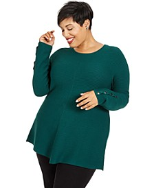 Plus Size Ribbed Snap-Detail Sweater, Created for Macy's