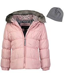 Little Girls Hooded Puffer Jacket With Faux-Fur Trim & Hat