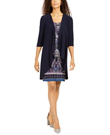 R & M Richards Petite Printed Necklace Dress & Draped Jacket