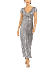 R & M Richards Petite Sequined Draped Sheath Dress
