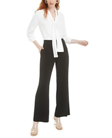 Bar III Tie-Neck Blouse & Straight-Leg Pants, Created for Macy's