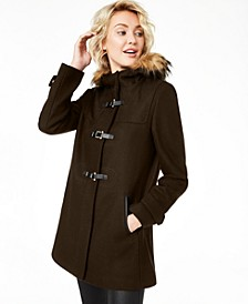 Signature Faux-Fur-Trim Hooded Coat