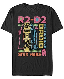Men's Classic Rainbow Retro R2-D2 Astromech Droid Short Sleeve T-Shirt