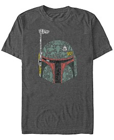 Star Wars Men's Classic Boba Fett Hidden Images Helmet Short Sleeve T-Shirt