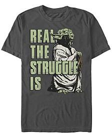 Star Wars Men's Classic Yoda Real The Struggle Is Short Sleeve T-Shirt