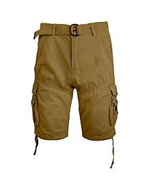 Men's Belted Cargo Shorts with Twill Flat Front Washed Utility Pockets