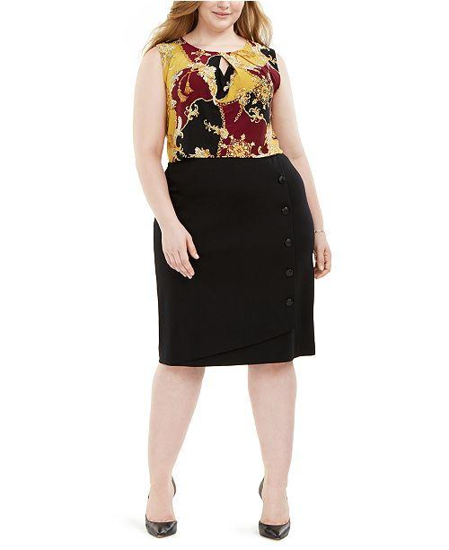 Plus Size Printed Keyhole-Cutout Top & Button-Detail Ponte-Knit Skirt