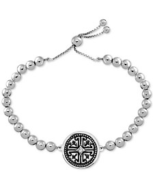 SYMBOLS OF STRENGTH Crystal Fancy Disc Beaded Bolo Bracelet in Fine Silver-Plate