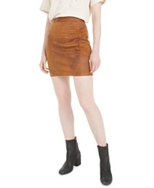 Free People Rumi Ruched Suede Mini Skirt