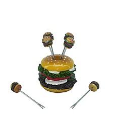 7 Piece Hamburger Fruit Picks Set