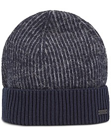BOSS Men's Koster Two-one Rib-Knit Beanie Hat
