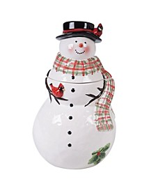 Watercolor Snowman 3-D Cookie Jar