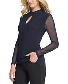DKNY Sheer-Sleeve Keyhole Top