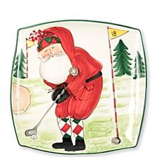 Old St. Nick Square Platter - Golfing