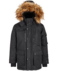 DKNY Big Boys Cargo-Pocket Parka With Faux-Fur Trim