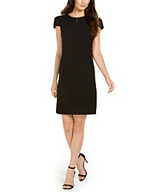 Keyhole Cap-Sleeve Sheath Dress