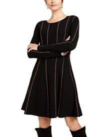 Escada Sport Striped Fit & Flare Sweater Dress