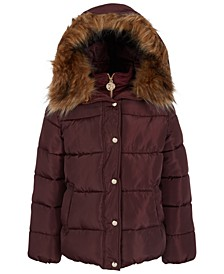Big Girls Hooded Puffer Jacket With Bib & Faux-Fur Trim