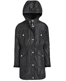 DKNY Big Girls Anorak with Logo Trim