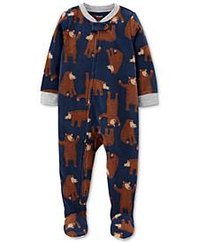 Baby Boys 1-Pc. Footed Fleece Bear Pajama