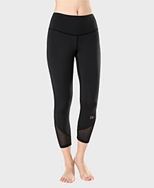 Woman High Waist Mesh Splicing Slim Capris Yoga Leggings