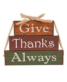 Glitzhome Wooden - Give Thanks Block Set