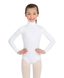 Big Girls Long Sleeve Turtleneck Leotard with Snaps