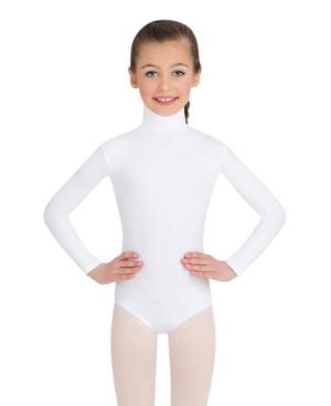 Capezio Kids' Big Girls Long Sleeve Turtleneck Leotard With Snaps In White