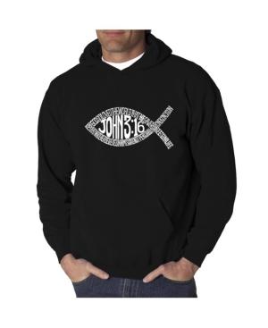 La Pop Art Men's Word Art Hooded Sweatshirt - John 3:16 Fish Symbol