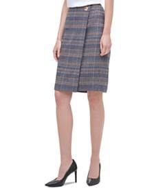 Calvin Klein Plaid Tweed Pencil Skirt