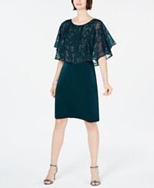 Connected Metallic Chiffon-Cape Dress
