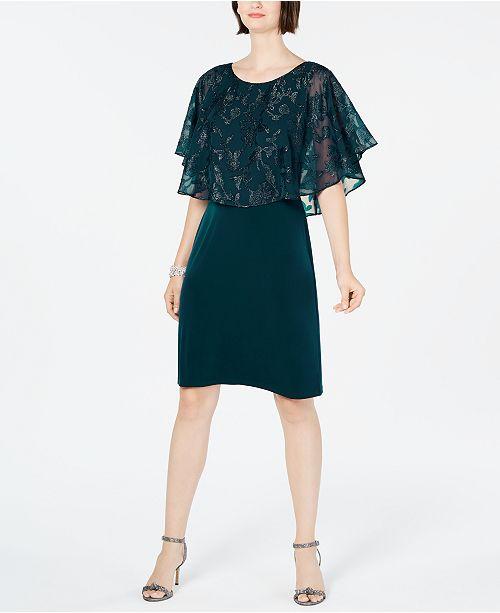Connected Metallic Chiffon-Cape Dress