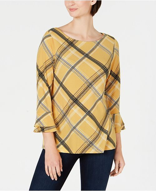 Charter Club Petite Plaid Bell-Sleeve Top, Created for Macy's