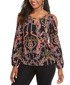Printed Cold-Shoulder Top, Created for Macy's