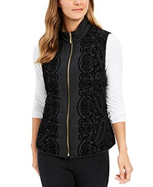 Petite Velvet-Flocked Puffer Vest, Created For Macy's