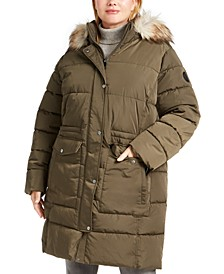 Plus Size Faux-Fur Trim Hooded Anorak Puffer Coat