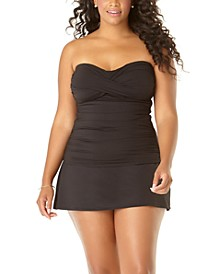Plus Size Twist-Front Strapless Tankini & Swim Skirt