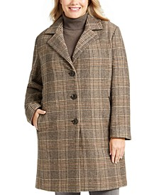 Plus Size Plaid Faux-Leather Trim Walker Coat, Created for Macy's