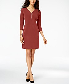 Petite Zip-Neck Dress, Created for Macy's