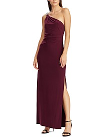 Lauren Ralph Lauren Jersey One-Shoulder Gown