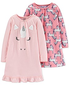 Toddler Girls 2-Pk. Unicorn Nightgowns Set